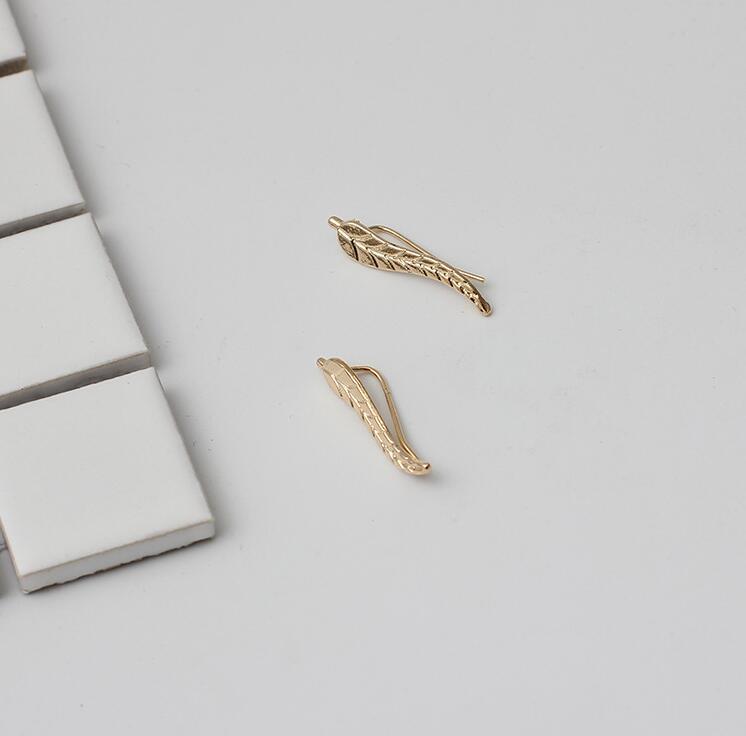gold leaf climber earrings-2