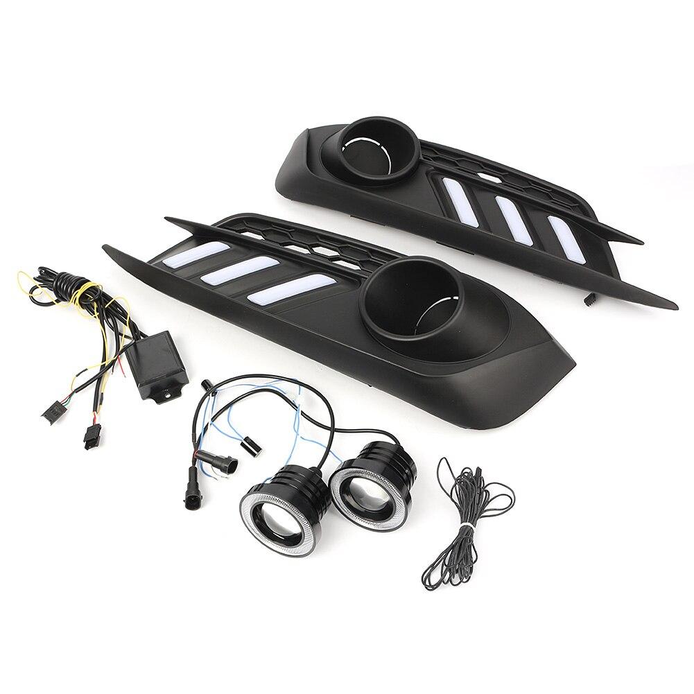 Автомобильный светодиодный DRL Противотуманные фары проектор + Комплект «ангельские глазки» для Honda Civic 4DR 2016 2017 2018 - 2
