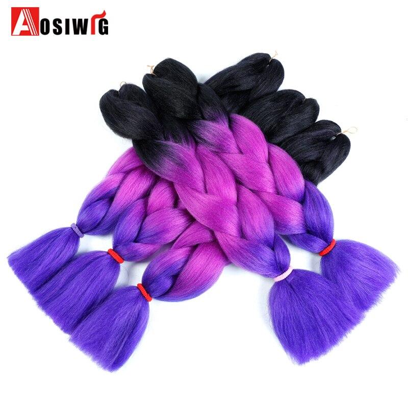 ⑧Aosiwig crochet extensiones de pelo ombre kanekalon trenzado del ...