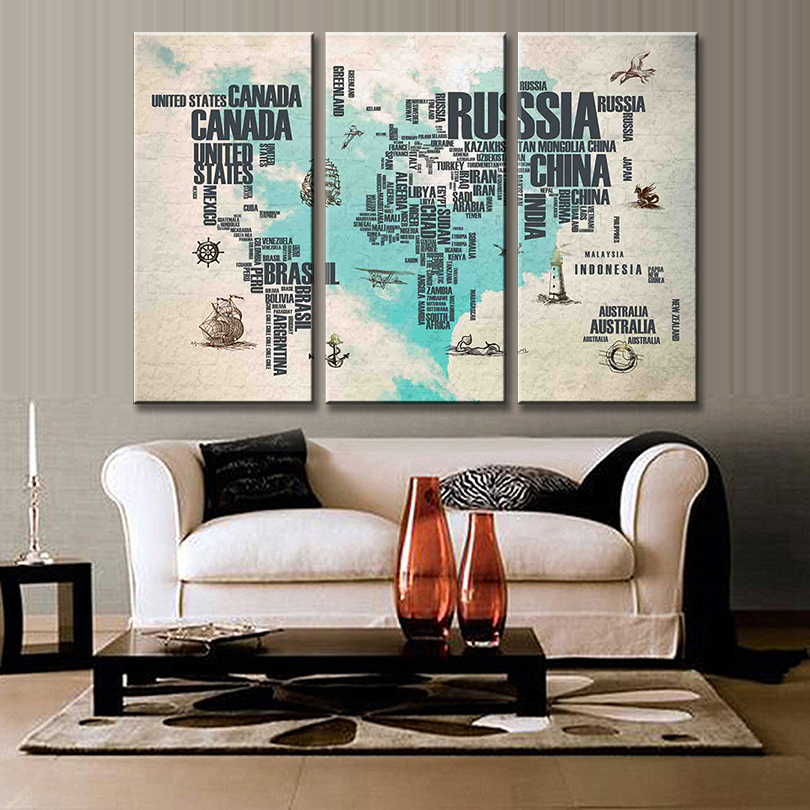 3 pcsset simple world maps canvas painting abstract blue heart 3 pcsset simple world maps canvas painting abstract blue heart letter world maps printed on canvas for office room pictures in painting calligraphy from gumiabroncs Image collections