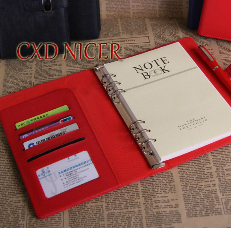 A6 Business Red Yellow Blue Black Color Note Book Pu Cover Agenda Sketch Book With Buckle Spiral Note Book DD676 blue note
