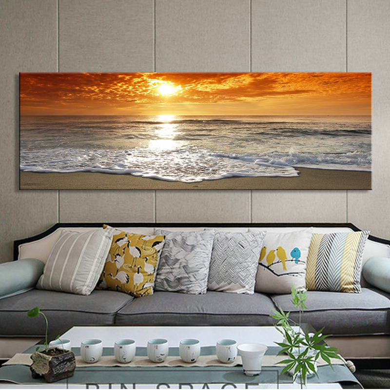 Modern Landscape Posters And Prints Wall Art Canvas Painting Sunrise Landscape At Sea Decorative Paintings For Living Room Decor