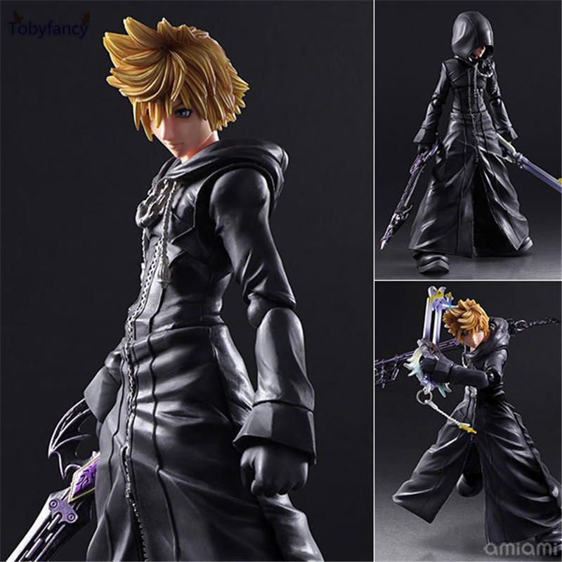 Tobyfancy Play Arts Kai Kingdom Hearts 2 Sora Action Figure PVC PA Kai Collection Model Toy kingdom hearts play arts kai roxas sora pvc action figure toy 26cm movie game anime kingdom hearts ii playarts kai
