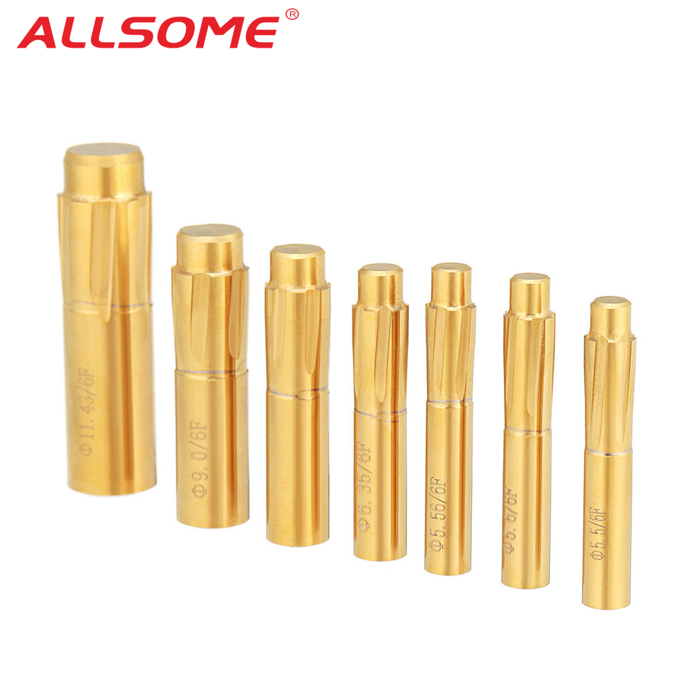 ALSLOME 5.5-11.43mm 6 Flutes Spiral Reamer Push Rifling Button Chamber Helical Machine Reamer HT2363-2369