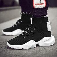 2019 Plus Size 36 44 Casual Men Sneakers Platform Shoes Breathable Mesh Male Shoes High Top Sock Walking Men Vulcanized Shoes