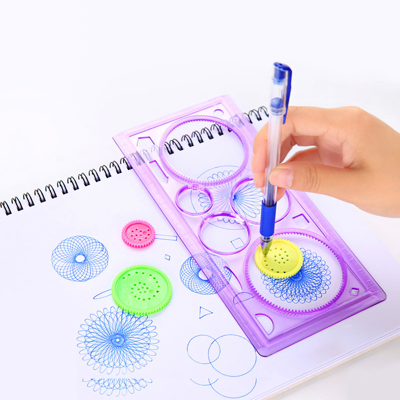 2 Pcs/lot Spirograph Geometric Ruler Learning Drawing Tool Stationery For Student Drawing Set Creative Gift Kids Children