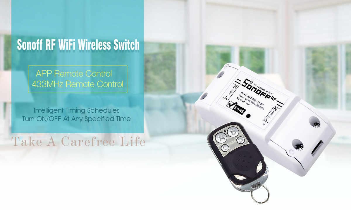 Bezpieczeństwa przenośne trwałe automatyczna ochrona Sonoff RF-WiFi 433 Mhz bezprzewodowy pilot zdalnego inteligentny przełącznik technologii wyświetlacz domu na APP