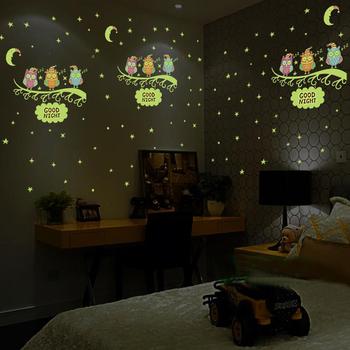 Luminous sowa księżyc naklejka ścienna w kształcie gwiazdy gwiazdy świecą na pokoje dla dzieci świecące w ciemności Home Decor dobry nocny fluorescencyjny naklejka na ścianę tanie i dobre opinie Sensual Bee CN (pochodzenie) 3d naklejki Kreatywny Dla gabinetu kuchenka Na ścianie Panel przełącznika Naklejki Meble Naklejki