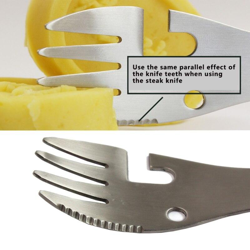 Многофункциональное оборудование для кемпинга кухонная посуда ложка Вилка открывалка для бутылок портативный инструмент для выживания на...