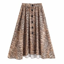 купить Snake Printing Skirts for Women Pleat Skirt 2019 Hot Style  Long Single-breasted Skirt дешево