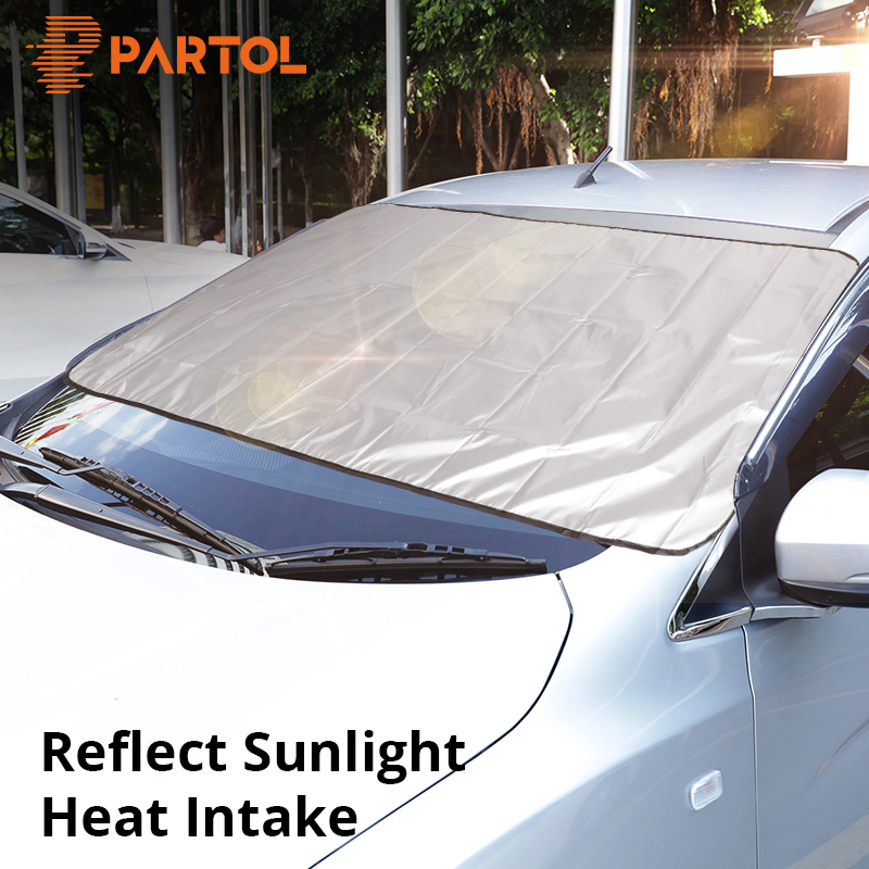 Eayse Automatic Retractable Car Windshield Sun Shade,Accordion Style Front Rear Windowscreen Sun Visor Sunscreen Insulation Sun Shield Sun Protection Heat-insulating For Full Size Car SUV handsomely