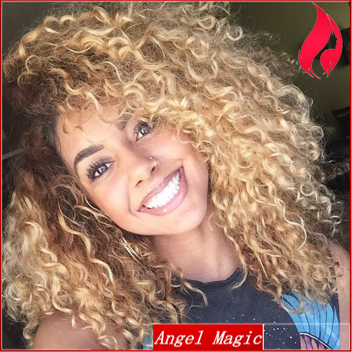 7a Ombre Short Wig Brazilian Kinky Curly Virgin Hair Blonde Full
