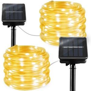 Image 2 - LED חבל תאורת RGB LED מחרוזת אור עמיד למים צבע שינוי עם מרחוק אספקת חשמל Usb שמש עץ אורות פטיו חג המולד