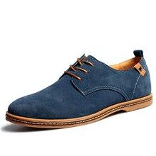 Plus Size 2016 New Fashion Suede Genuine Leather Flat Men Casual Oxford Shoes Low Men Leather Shoes big men shoes