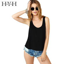 HYH HAOYIHUI Summer Black  Vest Female Sexy Back Hollow Out Lace Up Bodycon Wild Women Solid Color O-Neck Ladies Tank Tops