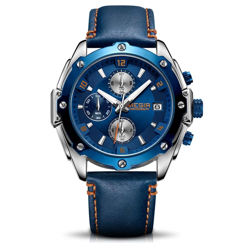 MEGIR chronographe hommes montre Relogio Masculino bleu cuir affaires Quartz montre horloge hommes Creative armée militaire montres