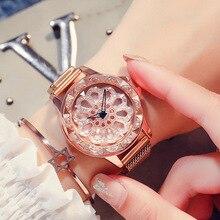 Women Watches Luxury Waterproof Wrist Top Brand Steel Strap Flower Dial Quartz Wristwatch For Clock Reloj Mujer