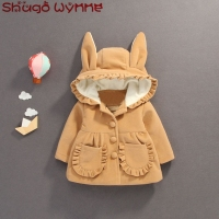 Winter Infant Baby Cotton Long Sleeve Cute Rabbit Ear Hooded Ruffles Kids Jacket Coat Girls Thick