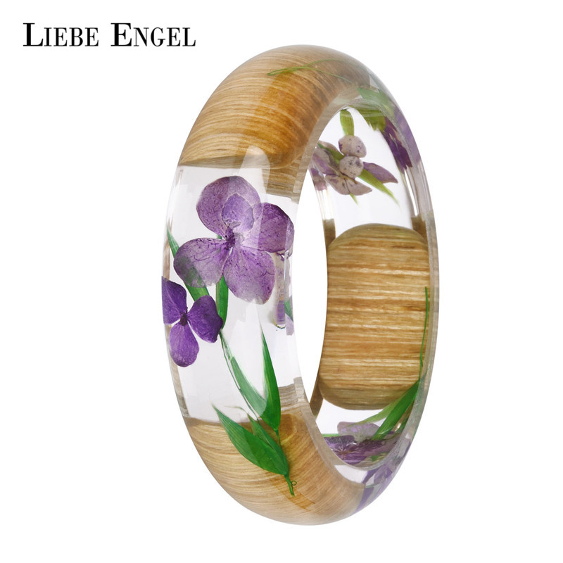LIEBE ENGEL NEW Charm Wood Resin Bangle Bracelet With Real Dried Flower Cuff Bracelet For Women Indian Jewelry Handmade