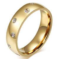 Frauen Mode Titan Stahl Strass Hochzeit Band Ring Jewery Charme
