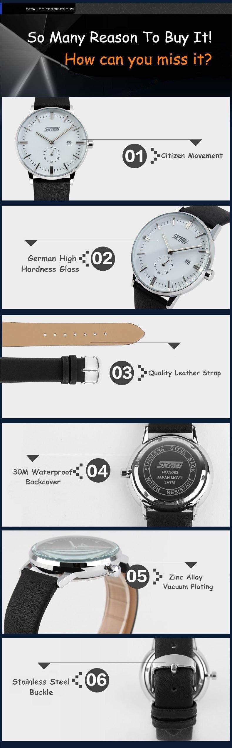 SKMEI 9083 Leather Strap Quartz Watch 3