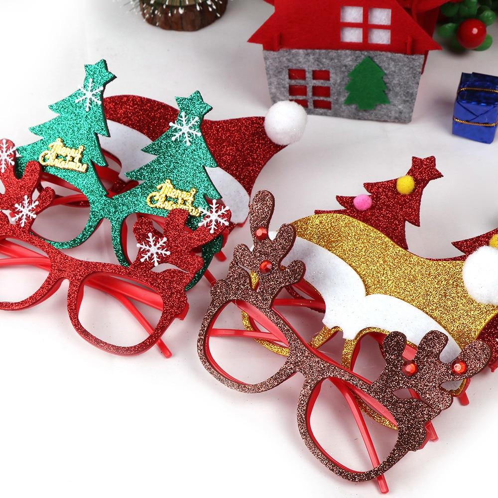 600 шт рождественские украшения для домашнего декора новогодние очки для детей Санта Клаус Олень снеговик рождественские украшения случайный - 3