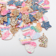 цена Fabric Padded Glitter Patches Chunky Glitter Rainbow Heart Appliques For Clothes Sewing Supplies DIY Hairbow Accessories Crafts онлайн в 2017 году