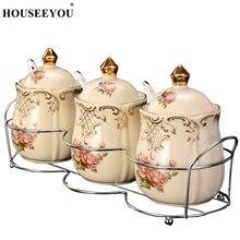 HOUSEEYOU, 3 шт./лот, Европейский сахарный горшок, коробка для приправ для конфет, кишки, банка, банка, ложка, крышка, керамическая Цветочная Роза, кухонный инструмент для хранения