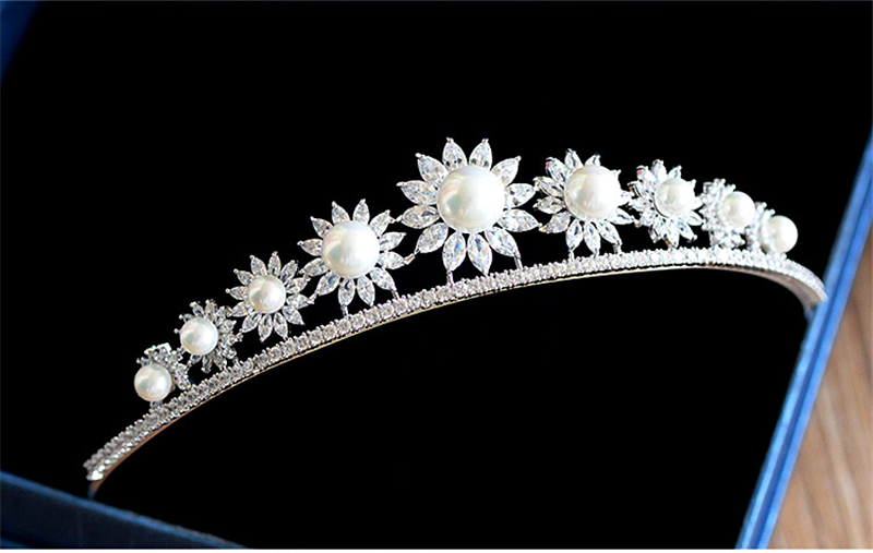 The Sunflower Full Zircon Tiara Bride Micro Pave CZ Crown Headband Wedding Hair Accessories Diadem Jewelry Tiaras Coroa WIGO0954 03 red gold bride wedding hair tiaras ancient chinese empress hat bride hair piece