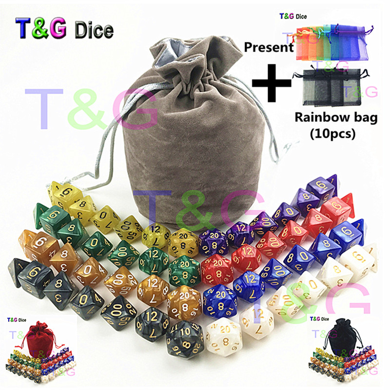 все цены на 56 pcs/bag MTG RPG D&D DND Dice Board Game set of 8 sets dice D4 D6 D8 D10 D12 D20 marbling acrylic dice game