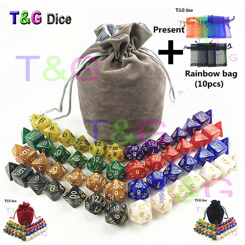 56 pcs/bag MTG RPG D&D DND Dice Board Game set of 8 sets dice D4 D6 D8 D10  D12 D20 marbling acrylic dice game