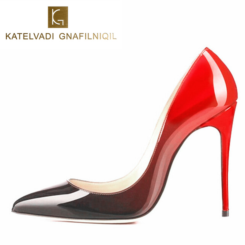 купить Shoes Woman High Heels Wedding Shoes Black/Red Patent Leather Women Pumps Pointed Toe Sexy High Heels Shoes Stilettos B-0053 онлайн