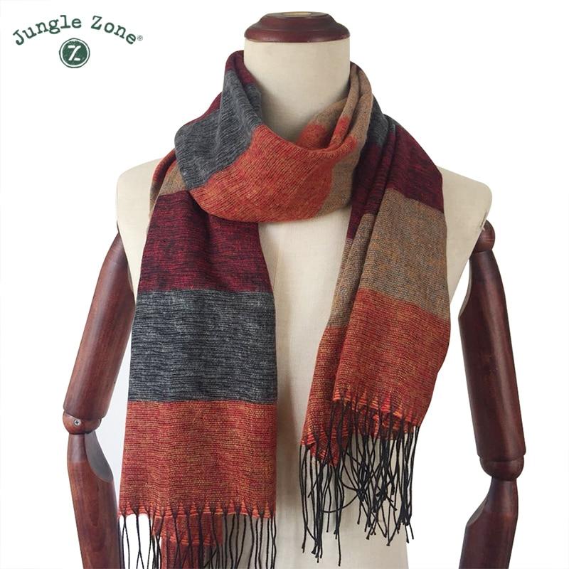 Women Scarf Autumn Winter Soft Stripe Scarf Men's Imitation Cashmere Scarf High Quality Brand Casual Scarfs 60cm*185cm D26