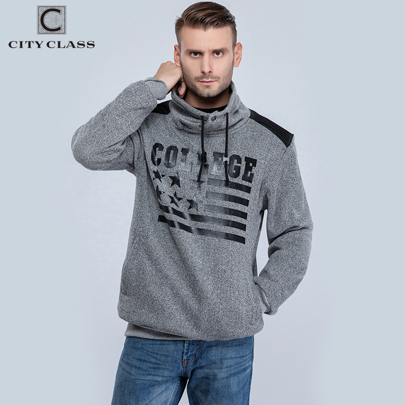CITY CLASS Autumn&Winter Men's Sweatshirts of Brand Clothing Harajuku Hip Hop Hoodies for Male Outerwear High collar 2660