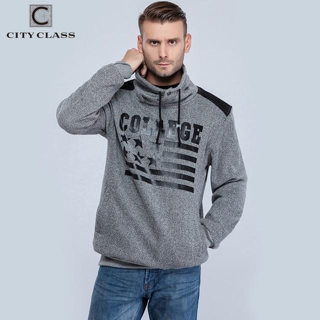 CITY CLASS Autumn&Winter Men's Sweatshirts of Brand Clothing Harajuku Hip Hop Hoodies for Male Outerwear High collar 2660