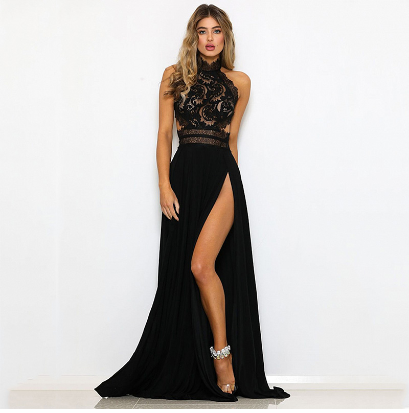 GACVGA Sexy Women Sleeveless Summer Dress Halter Neck Lace Crochet Evening Maxi Long Dress Backless Party Dresses Vestido 3