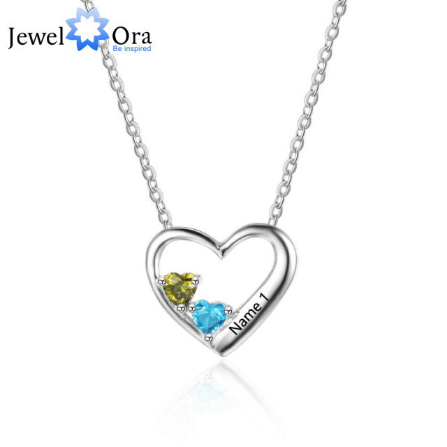 item necklace heart birthstone sterling jewelora silver pendant gift engraved personalized birthstones mom pendants