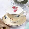 Костяной фарфор наборы кофейных чашек Красочные бабочки керамические чайные чашки и блюдца Британский офис чайная чашка из фарфора хороши...