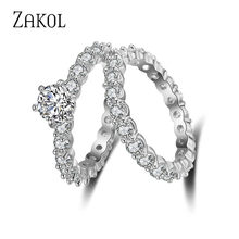 ZAKOL Fashion Round Cubic Zirconia 2 pcs Ring Set Wedding Jewelry Female Engagement Ring For Women Crystal Party Gift FSRP155(China)
