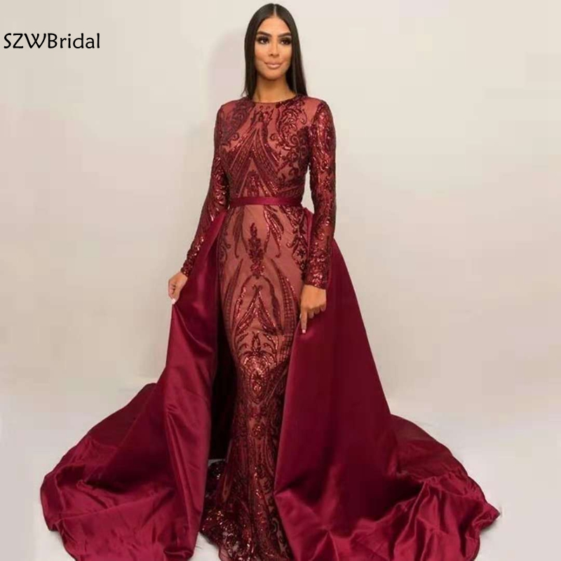 New Arrival High Neck Muslim Green Long Sleeve   Evening     Dresses   2019 Sequin Lace Moroccan Kaftan Formal Party Gown abiye