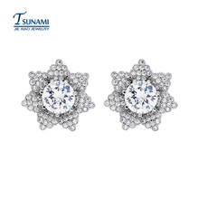 The new popular flower AAA zircon earrings Women and girls like white zircon earrings ER050