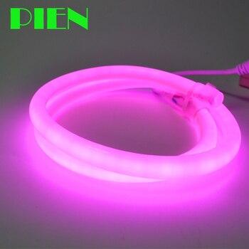 LED עגול ניאון חבל אור להגמיש 220 V עמיד למים צינור מנורת 320 תואר עבור בית תפאורה גן חם לבן 15 M 25 M 50 M 100 M ספינה חינם