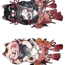 465bc23310784 Temporary Tattoo Sticker large size body art flower Lucky Cat fish skull  water Transfer Fake Tattoo
