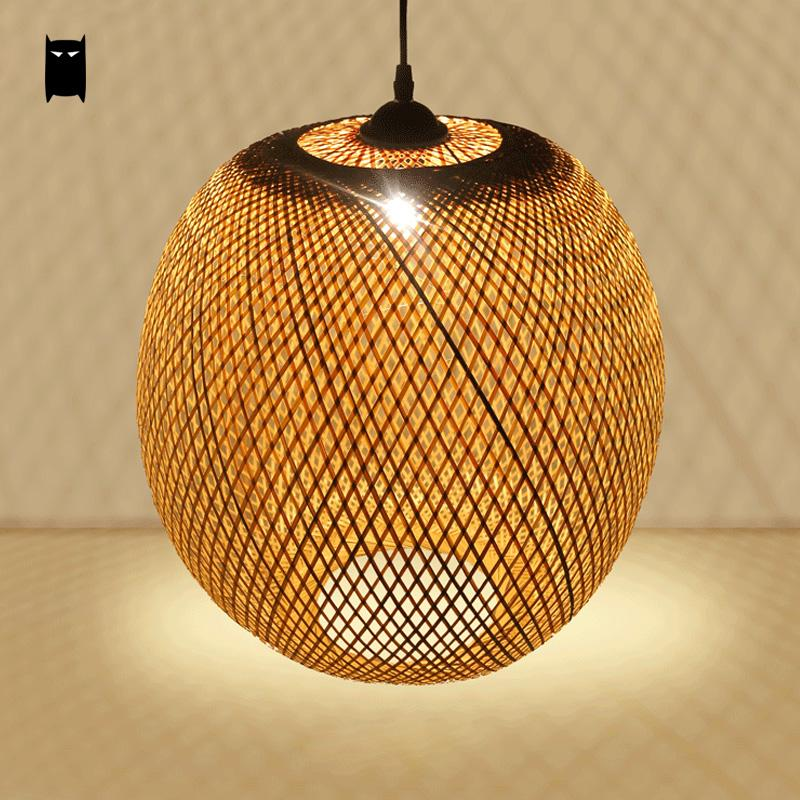 Bamboo Wicker Rattan Round Lantern Pendant Light Fixture Asian Japanese Hanging Lamp Luminaire Suspendu Restaurant Dining Room bamboo wicker rattan round basket bucket pendant light fixture rustic asian japan hanging lamp luminaire design for dining room