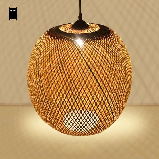 Tkzuoxpi Lanterne Bambou Asiatique Rond Suspension Rotin Osier Luminaire D92eIbHYWE