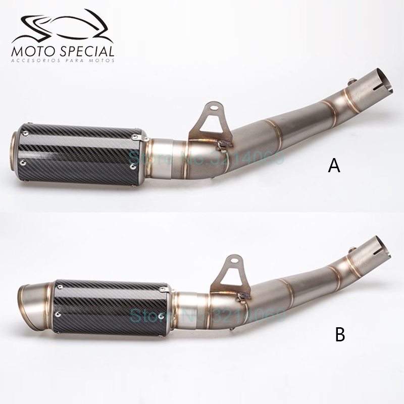 Universal Motorcycle Full Exhaust System CBR1000RR 2012 2016 Carbon Fiber GP Motorbike Silencer Set Slip On Escape And Link Pipe