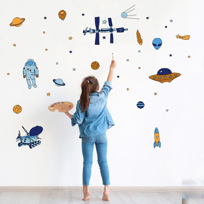 Космический корабль Космос ракета летающая тарелка инопланетянин Наклейка на стену для детской комнаты спальни фотообои искусство наклей...