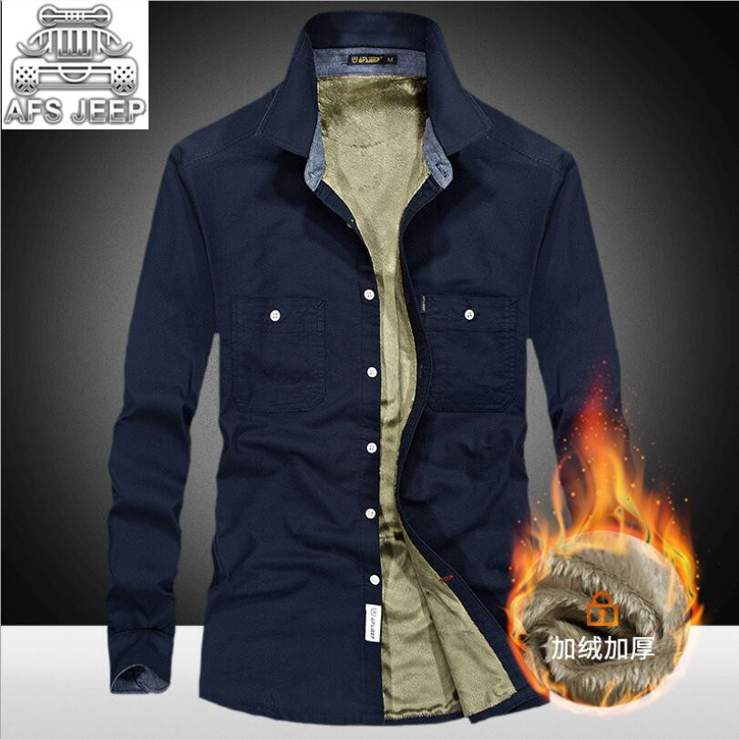 Fur Inside Men Shirts Autumn Winter Plus Size 4XL Business Casual Slim Fit Long Sleeve Denim Brand Clothing AFS JEEP  Military