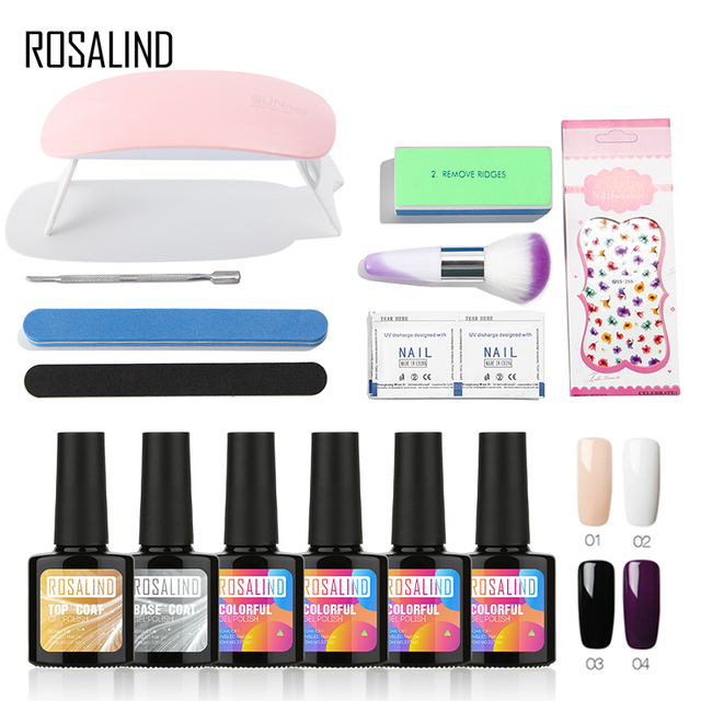 ROSALIND Gel Nail Kit With Lamp 10ML Gel Nail Polish Set For Nail Manicure Gel Lacquer Set  Extension Nail Tools Brushes Design