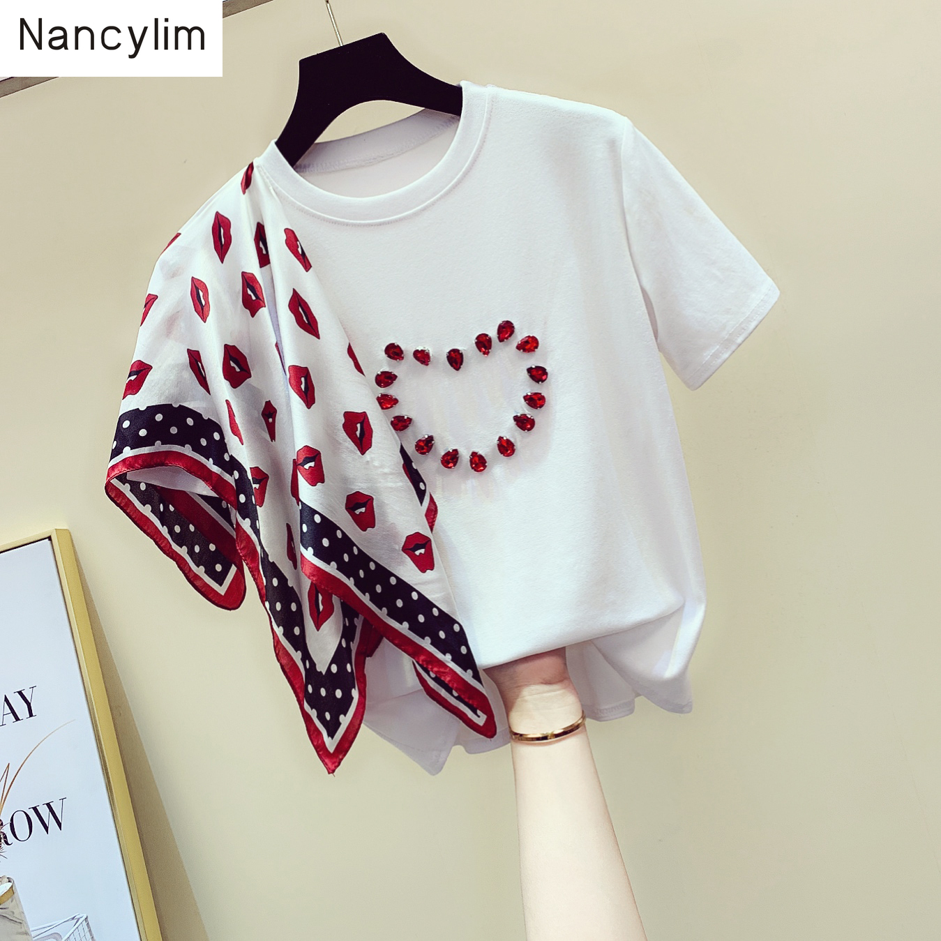 Summer Girls Ladies New Loose Wave Point Scarf Beaded Short Sleeve T-shirt For Students White Tees Tops Female T Shirts
